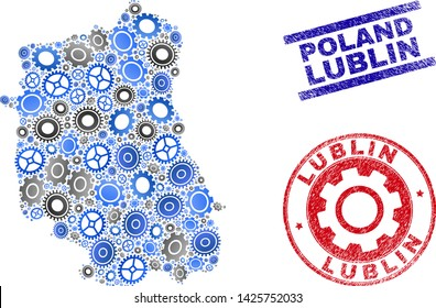 Wheel vector Lublin Voivodeship map composition and seals. Abstract Lublin Voivodeship map is designed from gradiented random cogs. Engineering territory plan in gray and blue colors,