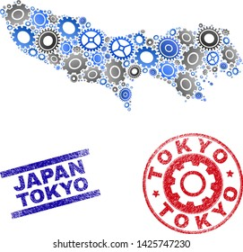 Wheel vector Tokyo Prefecture map composition and stamps. Abstract Tokyo Prefecture map is formed of gradient random gearwheels. Engineering territory plan in gray and blue colors,