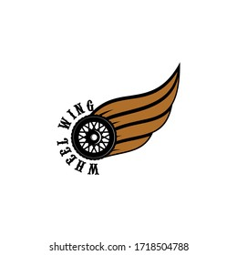 wheel wing for motorcycle club vector logo design