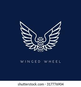 Wheel with wing. Template for logo, label, emblem, sign, stamp. Vector illustration.