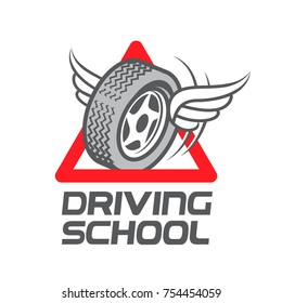 Wheel with wings. Driving School. Logo design. Vector illustration.