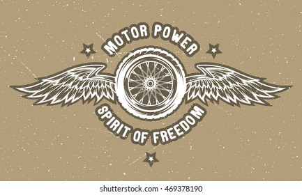 Wheel and wings - the spirit of freedom. Emblem, t-shirt design.