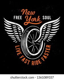 Wheel and wings in vintage style. Emblem, symbol, for t-shirt graphic, posters and other uses.