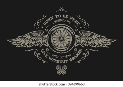 Wheel and wings in vintage style. Emblem, symbol, t-shirt graphic. For dark background.