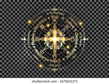 wheel of the Year is an annual cycle of seasonal festivals. Gold Wiccan calendar and holidays. Compass with triple moon Wicca pagan goddess and moon phases symbol, names in Celtic of the Solstices