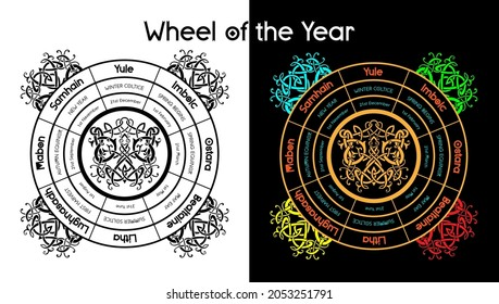 Wheel of the year vector illustration of pagan equinox holidays. Wiccan solstice calendar. Magical seasons, yule, samhain, beltane. Altar poster, wiccan holidays.