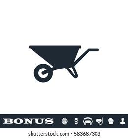 Wheelbarrow cart icon flat. Black pictogram on white background. Vector illustration symbol and bonus button