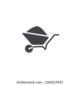 Wheelbarrow Cart vector icon. filled flat sign for mobile concept and web design. Garden trolley with soil glyph icon. Gardening symbol, logo illustration. Pixel perfect vector graphics