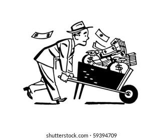 Wheelbarrow Of Cash - Retro Clip Art