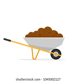Wheelbarrow with dirt. Gardening clipart isolated on white background