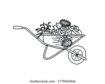 Wheelbarrow for the garden icon. Vector illustration of a garden wheelbarrow for plants. Hand drawn wheelbarrow for the garden.Wheelbarrow with the harvest. Cabbage, sunflower, carrot, beet