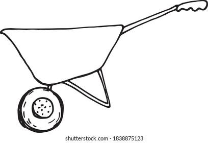 Wheelbarrow for a garden icon. Vector illustration of a black line Doodle garden wheelbarrow for plants. Hand wheelbarrow for garden and construction tool isolated on white background.