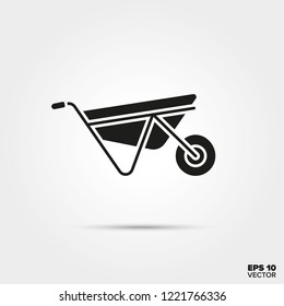 Wheelbarrow glyph icon vector. Construction equipment symbol.
