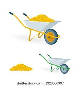Wheelbarrow with golden coins.  Wheelbarrows vector illustrations set. Pushcart with treasure. Wheelbarrow full of money.