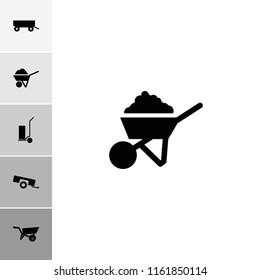 Wheelbarrow icon. collection of 6 wheelbarrow filled icons such as wheel barrow, barrow, construction. editable wheelbarrow icons for web and mobile.