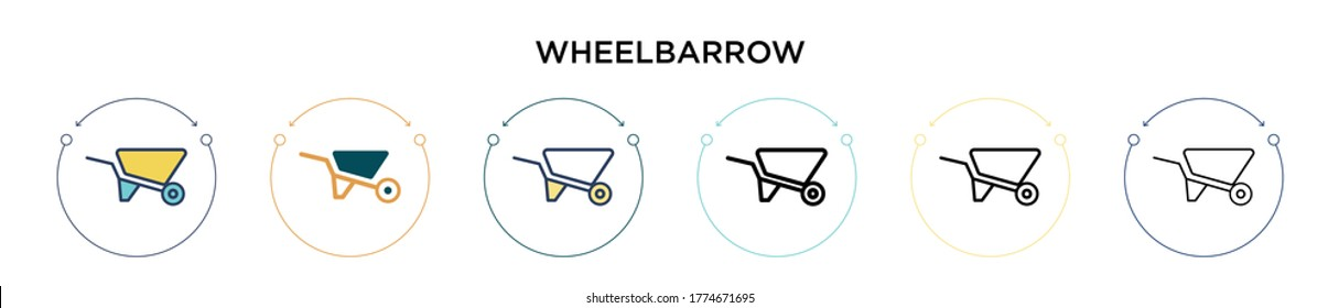 Wheelbarrow icon in filled, thin line, outline and stroke style. Vector illustration of two colored and black wheelbarrow vector icons designs can be used for mobile, ui, web
