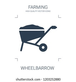 wheelbarrow icon. high quality filled wheelbarrow icon on white background. from farming collection flat trendy vector wheelbarrow symbol. use for web and mobile