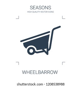 wheelbarrow icon. high quality filled wheelbarrow icon on white background. from seasons collection flat trendy vector wheelbarrow symbol. use for web and mobile