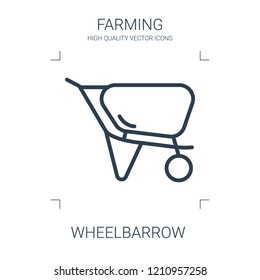 wheelbarrow icon. high quality line wheelbarrow icon on white background. from farming collection flat trendy vector wheelbarrow symbol. use for web and mobile