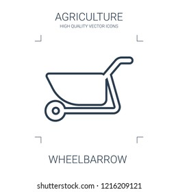 wheelbarrow icon. high quality line wheelbarrow icon on white background. from agriculture collection flat trendy vector wheelbarrow symbol. use for web and mobile