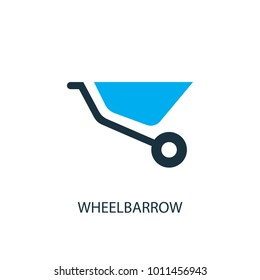 Wheelbarrow icon. Logo element illustration. Wheelbarrow symbol design from 2 colored collection. Simple Wheelbarrow concept. Can be used in web and mobile.