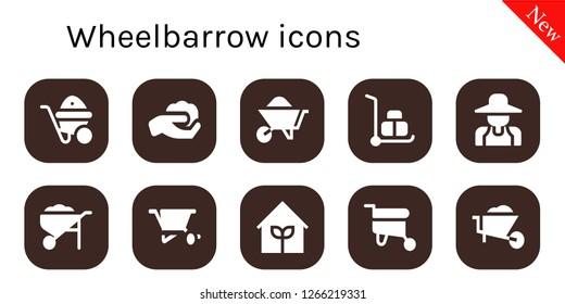wheelbarrow icon set. 10 filled wheelbarrow icons. Simple modern icons about  - Wheelbarrow, Gardening, Gardener, Garden