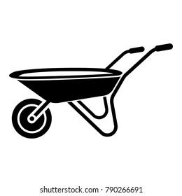 Wheelbarrow icon. Simple illustration of wheelbarrow vector icon for web