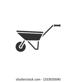 Wheelbarrow icon template color editable. Agriculture cart wheel farm symbol vector sign isolated on white background. Simple logo vector illustration for graphic and web design.