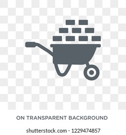 Wheelbarrow icon. Trendy flat vector Wheelbarrow icon on transparent background from Construction collection. High quality filled Wheelbarrow symbol use for web and mobile