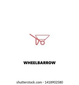 wheelbarrow icon. wheelbarrow vector design. sign design. red color