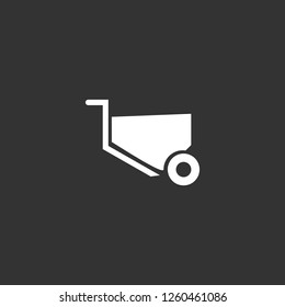 wheelbarrow icon vector. wheelbarrow sign on black background. wheelbarrow icon for web and app