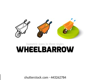 Wheelbarrow icon, vector symbol in flat, outline and isometric style