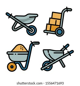 Wheelbarrow icons set. Outline set of wheelbarrow vector icons for web design isolated on white background
