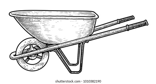 Wheelbarrow illustration, drawing, engraving, ink, line art, vector