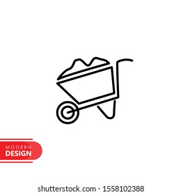 wheelbarrow line icon with modern design. flat style for graphic design template. suitable for logo, web, UI, mobile app. vector illustration