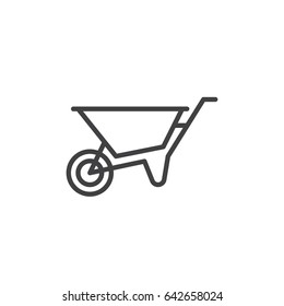 Wheelbarrow line icon, outline vector sign, linear style pictogram isolated on white. Symbol, logo illustration. Editable stroke. Pixel perfect