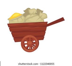 Wheelbarrow made of wood transporting farming production vector illustration