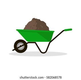 Wheelbarrow with organic fertilizer. Pitchfork icon. Gardening tool. Vector illustration flat design.