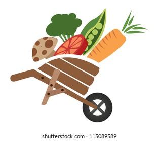 Wheelbarrow with Produce