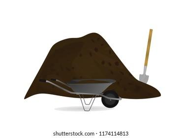 Wheelbarrow and shovel. vector illustration