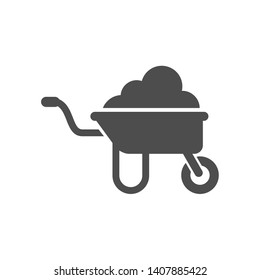 wheelbarrow with soil vector icon isolated on white background. wheelbarrow with soil flat icon for web, mobile and user interface design