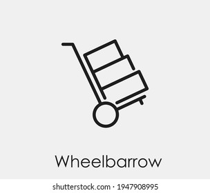 Wheelbarrow vector icon.  Editable stroke. Linear style sign for use on web design and mobile apps, logo. Symbol illustration. Pixel vector graphics - Vector