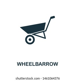 Wheelbarrow vector icon illustration. Creative sign from farm icons collection. Filled flat Wheelbarrow icon for computer and mobile. Symbol, logo vector graphics.