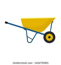 Wheelbarrow yellow garden vector tool equipment side view. Agriculture cart wheel cartoon farm. Flat lawn ground supplies