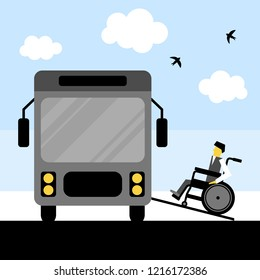 Wheelchair accessible transportation. Paratransit bus picking up passenger. Accessible bus. Access ramp for disabled persons in a bus. Flat vector illustration