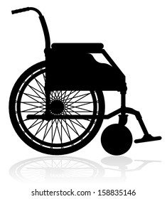 wheelchair black silhouette vector illustration isolated on white background