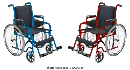 Wheelchair. Blue and red colors. Medicine and health. Isolated object. Vector illustration.