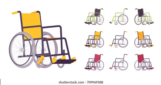 Wheelchair cartoon set in yellow, red, black. Transport chair for disabled, sick, or injured, medical equipment. Vector flat style cartoon illustration, isolated, white background. Different positions