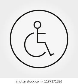 Wheelchair. Disabled person icon. Human on wheelchair sign. Universal icon for web and mobile application. Vector illustration on a white background. Editable Thin line.