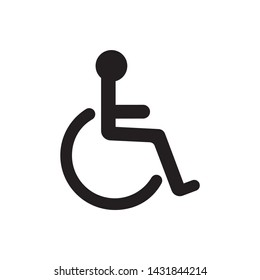 Wheelchair flat icon. Vector wheelchair icon on white background